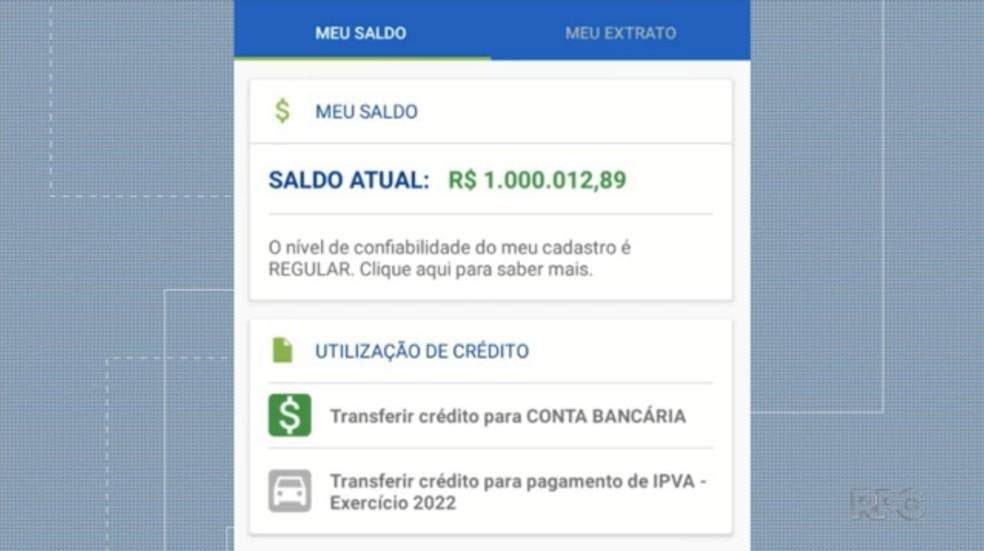 Saldo no aplicativo do ganhador do Nota Paraná — Foto: Arquivo pessoal