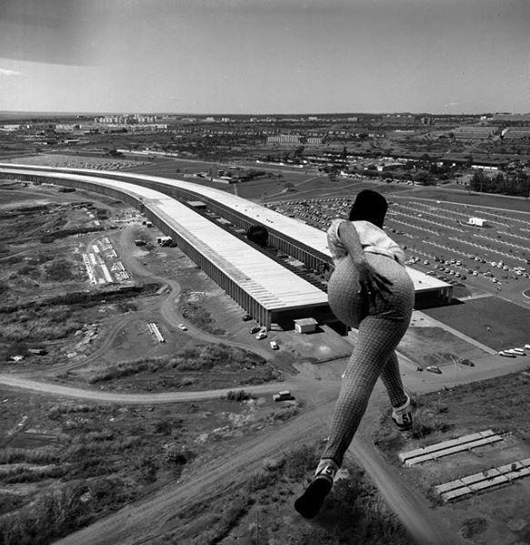 A Universidade de Brasília virou pista de boliche. Registro original de 1961 (Foto: Brasilia Retrofuturista/Reprodução)