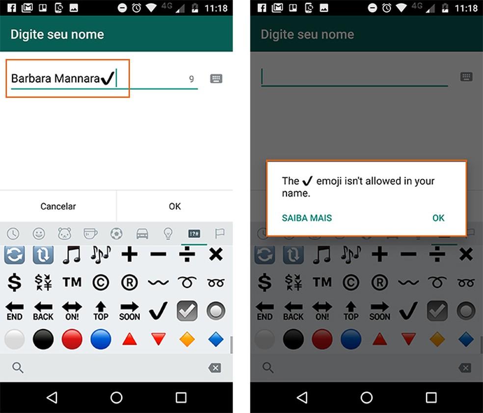 WhatsApp mostra mensagem de erro ao adicionar emoji de check (Foto: Reprodução/Barbara Mannara)