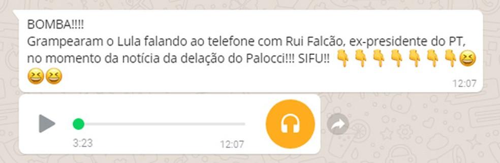 Mensagem falsa que tem circulado no WhatsApp (Foto: Reprodução)