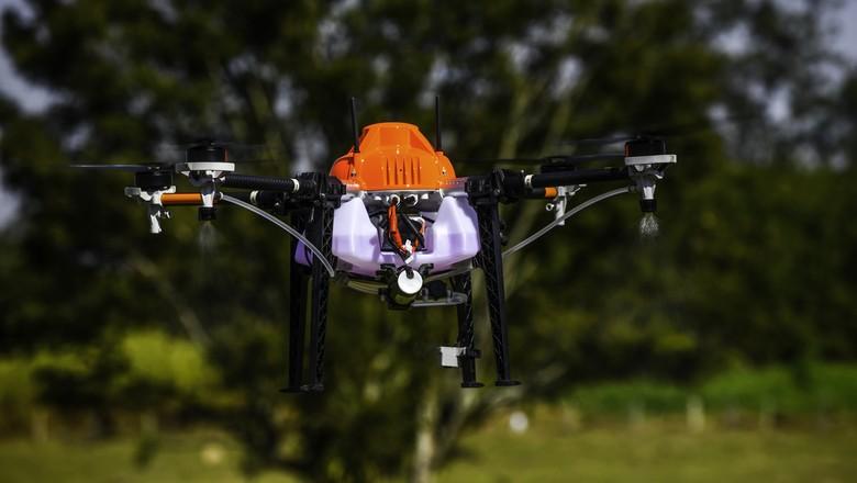 Drone para pulverizar microbiológicos em hortaliças (Foto: Lucas Lacaz Ruiz/Rossi Comunicação)