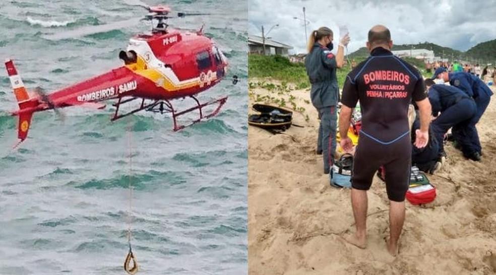 Resgate no costão da Praia Grande, em Penha — Foto: Corpo de Bombeiros/ Divulgação