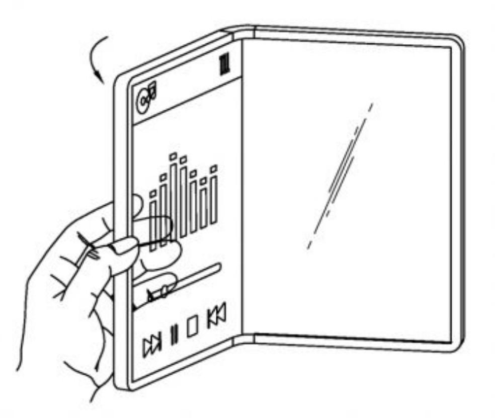 Celular dobrável transparente da LG funciona com tela traseira dobrada — Foto: Reprodução/LG (USPTO)