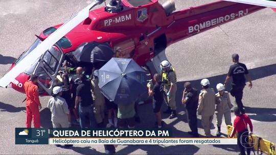Quatro PMs são resgatados após queda de helicóptero na Baía de Guanabara