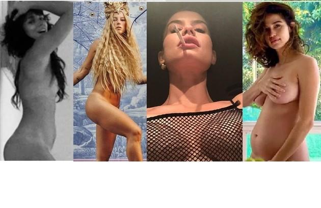 Depois de Bianca Bin postar silhueta, Alinne Moraes compartilhou imagem com os seios à mostra sob blusa de tela; Paolla Oliveira postou corpo nu com os seios cobertos por cachos e Nanda Costa pousou as mãos sobre o peito (Foto: Reprodução/Instagram)