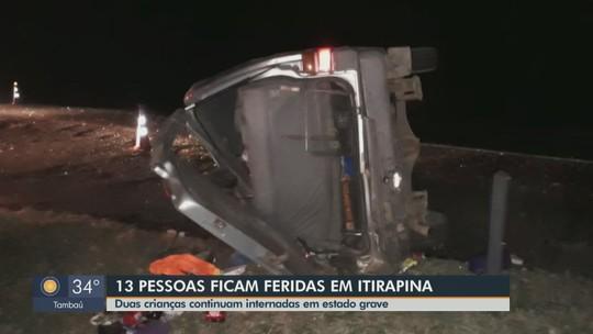 Van capota e 13 pessoas da mesma família ficam feridas na Washington Luís em Itirapina