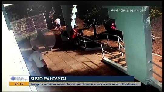 Câmera de segurança flagra homem sendo morto a tiros em frente a hospital em Candelária