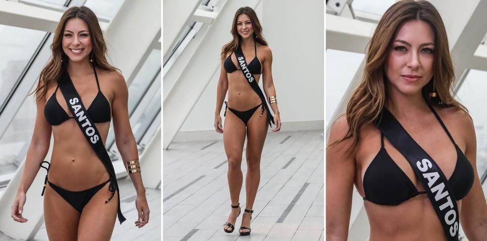 A Miss Santos, Natália Viviani Curvelo de Oliveira, de 26 anos, terceiro lugar no Miss São Paulo 2018 (Foto: Fábio Tito/G1)