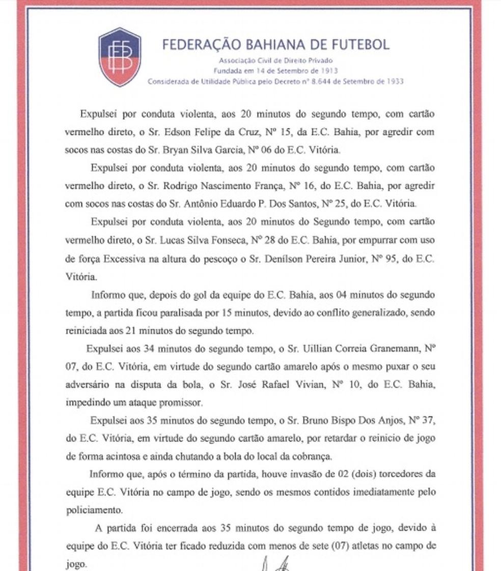 Segunda página do relatório de sumula do Ba-Vi (Foto: Reprodução)
