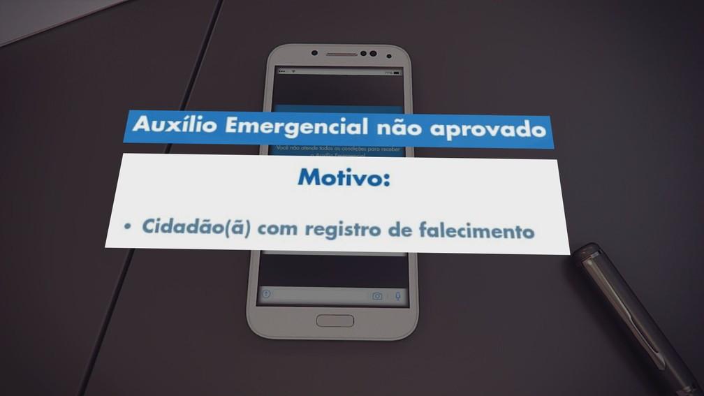 Aplicativo da CEF diz que trabalhador está morto — Foto: Reprodução/TV Globo