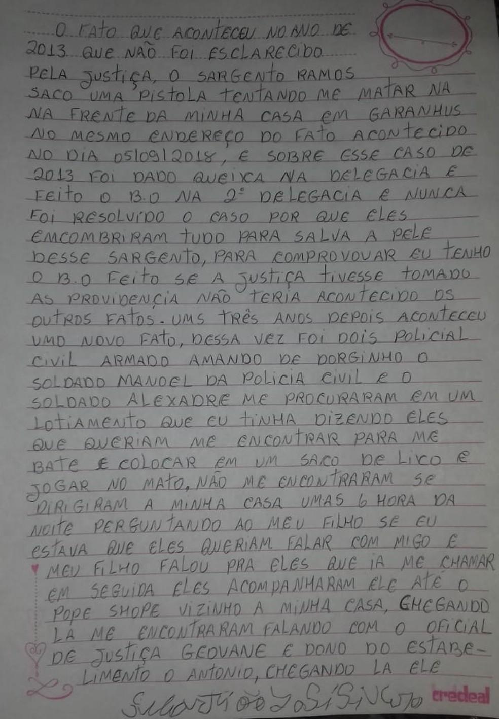 Primeira página da carta escrita por Sebastião José Severo — Foto: Roberto Marques/ Arquivo pessoal