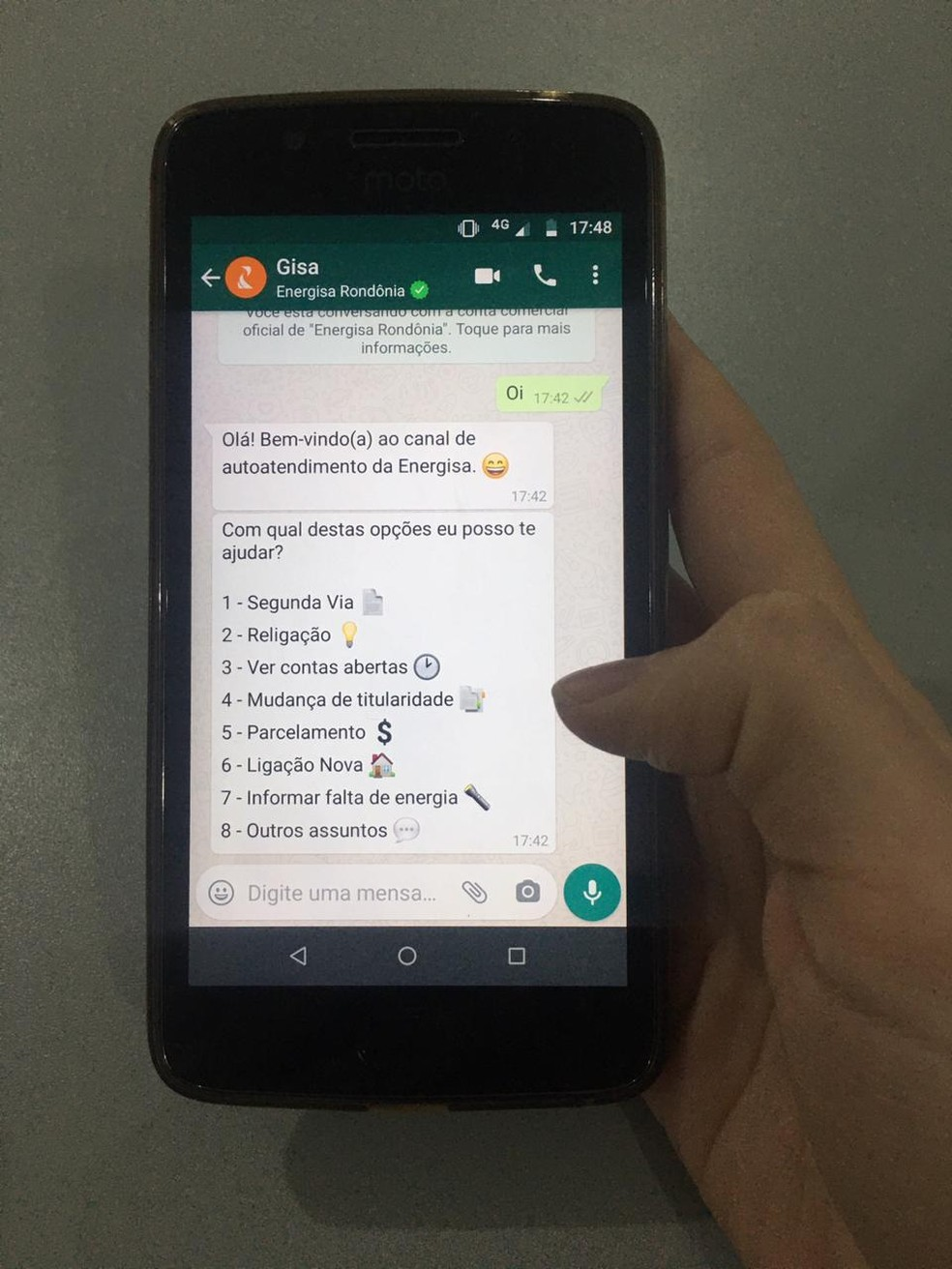 Atendimento pode ser realizado pelo WhatsApp da Energisa — Foto: G1/Arquivo