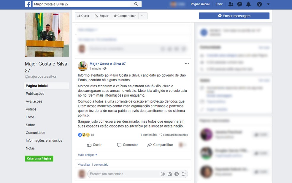 Post em perfil do candidato Major Costa e Silva nno Facebookl na noite desta quarta-feira (3) — Foto: Reprodução/TV Globo