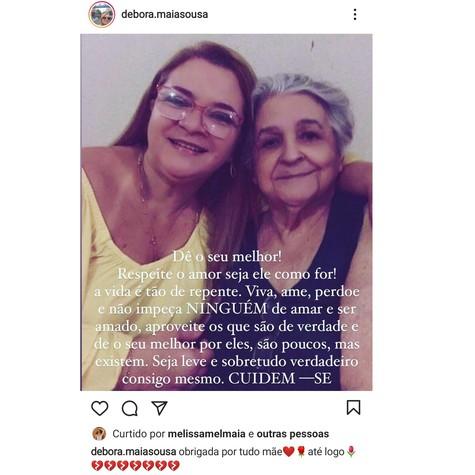 Mãe de Mel Maia, Débora, anuncia a morte de sua mãe (Foto: Reprodução Instagram)
