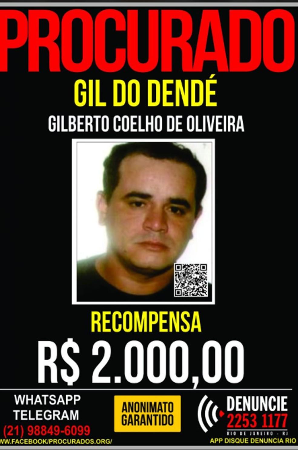 Gilberto Coelho de Oliveira, o Gil, atuava como chefe do tráfico do Morro do Dendê — Foto: Reprodução / Portal dos Procurados