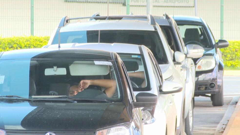 Motoristas de transporte por aplicativo no Distrito Federal  — Foto: TV Globo/Reprodução