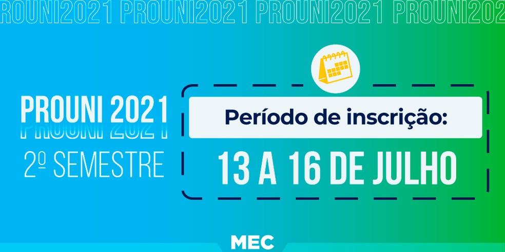 Prouni: MEC divulga cronograma do 2º semestre de 2021 — Foto: Reprodução/Twitter/MEC