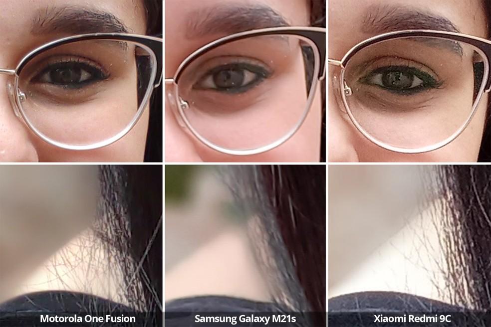Comparativo das câmeras frontais do Motorola One Fusion, Samsung Galaxy M21s e Xiaomi Redmi 9C usando o modo retrato em detalhe. — Foto: Arquivo pessoal