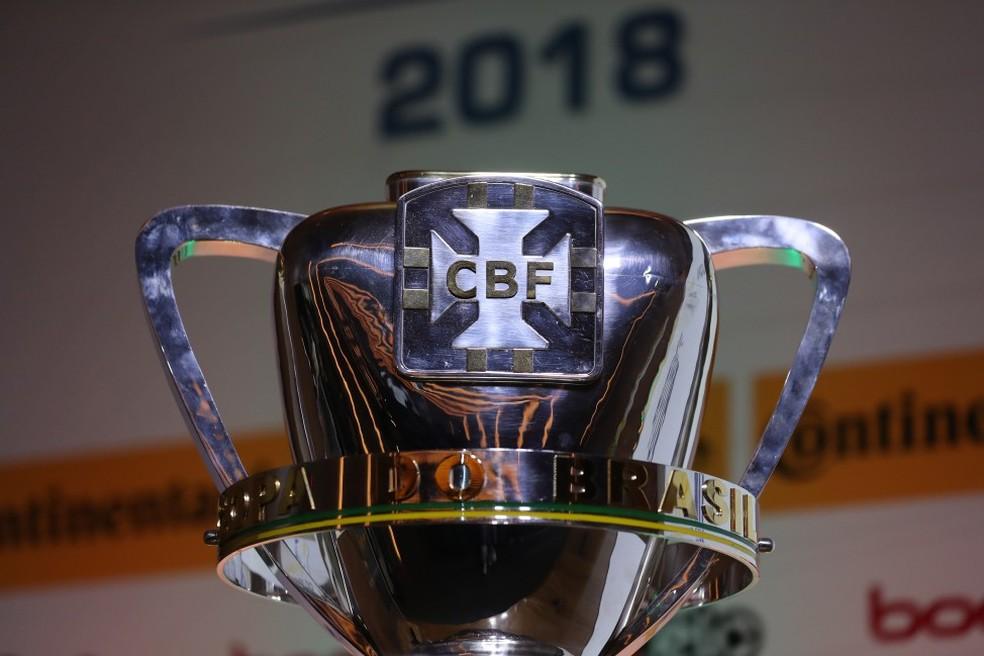 O troféu da Copa do Brasil 2018. Em 2017, o Cruzeiro foi o campeão ao derrotar o Flamengo na decisão (Foto: Lucas Figueiredo / CBF)
