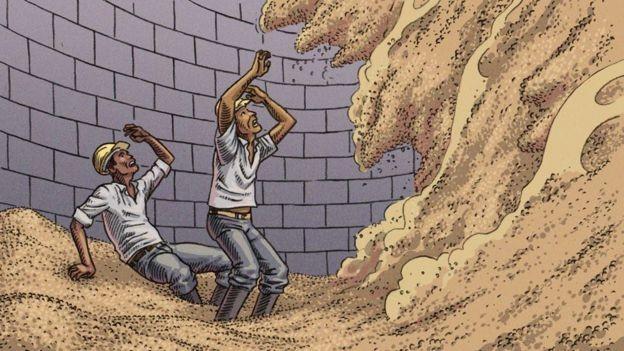 Quando massa de grãos está desnivelada no silos, deslocamentos podem soterrar trabalhadores em poucos segundos (Foto: Vitor Flynn/BBC News Brasil)