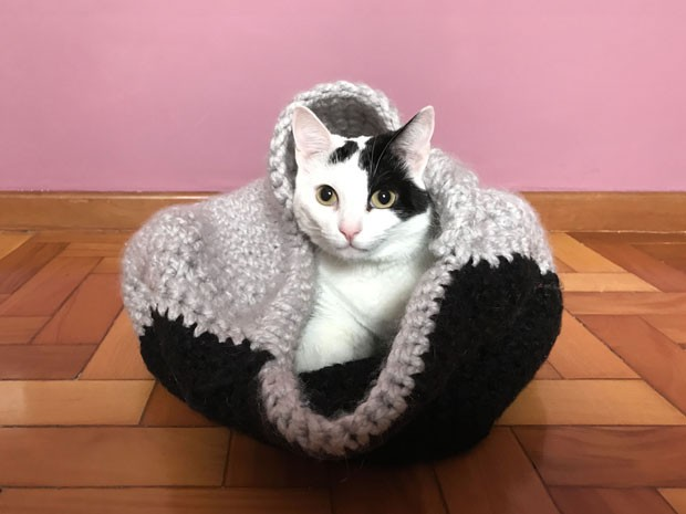 Aprenda a fazer um cesto de crochê para seu gato (Foto: Amanda Sequin e Gabrielle Chimello)