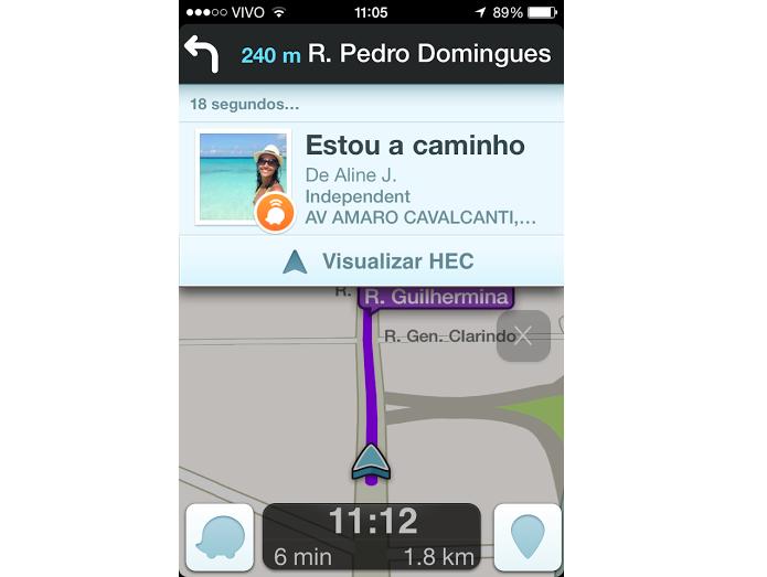 Alerta de que você está a caminho aparece no Waze do amigo (Foto: Reprodução/Aline Jesus)
