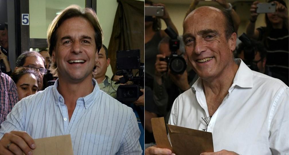Luis Lacalle Pou (E) e Daniel Martínez (D) disputarão segundo turno das eleições no Uruguai — Foto: Eitan Abramovich, Pablo Porciuncula Brune/AFP