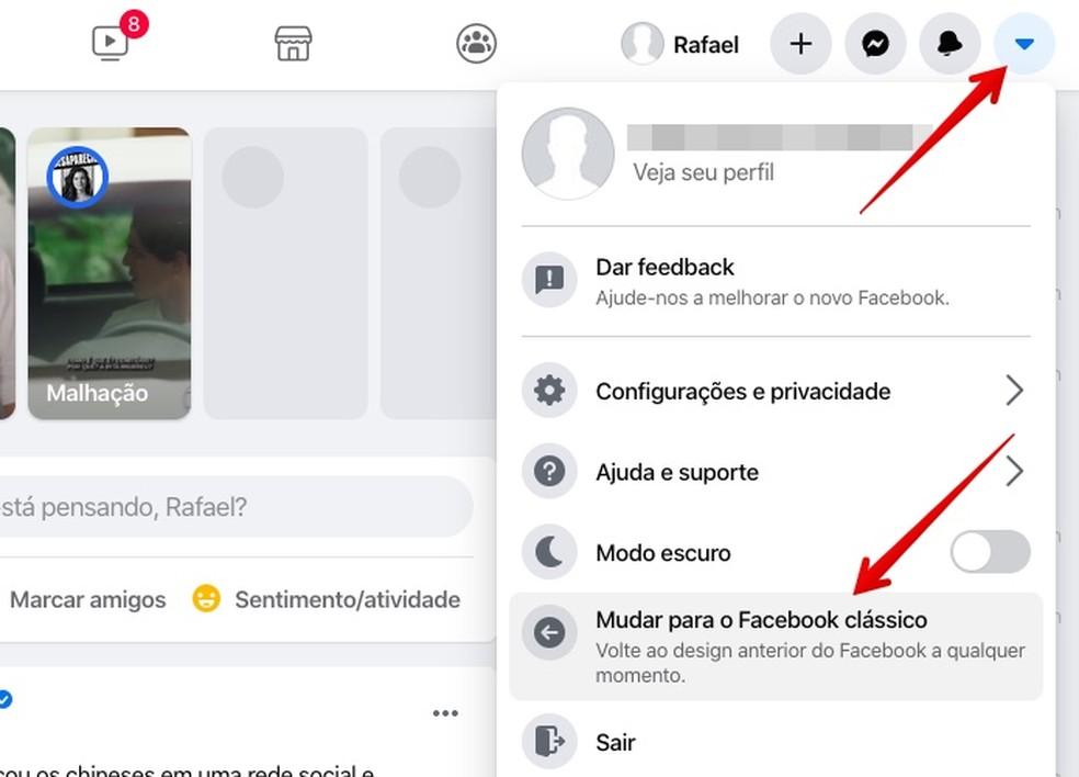 Voltando ao tema antigo do Facebook — Foto: Reprodução/Helito Beggiora