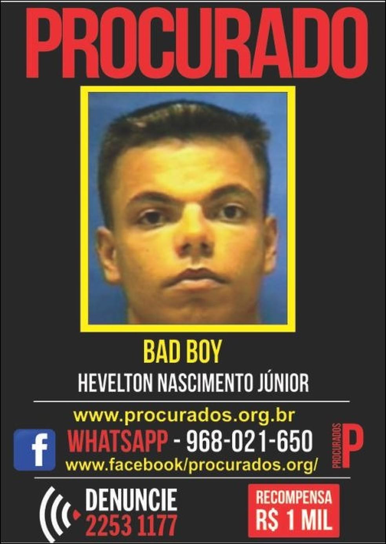 Criminoso conhecido como Bad Boy foi encontrado morto nesta terça-feira em Santa Cruz; ele saiu do tráfico de drogas e foi para a milícia de Campo Grande (Foto: Portal dos Procurados/Divulgação)