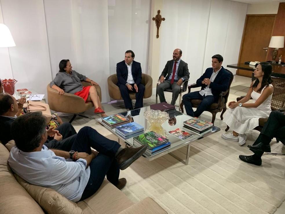 Rodrigo Maia se reuniu com a governadora Fátima Bezerra, o vice-governador Antenor Roberto e deputados potiguares em Natal — Foto: Heloísa Guimarães/Inter TV Cabugi