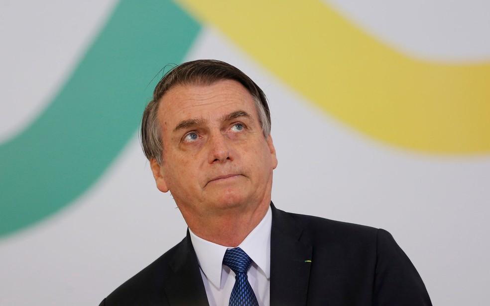 O presidente Jair Bolsonaro durante cerimônia no Palácio do Planalto â?? Foto: Adriano Machado/Reuters