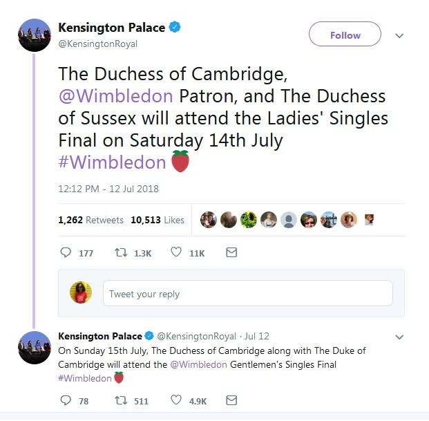palácio de Kensington anuncia Kate e Meghan em final de torneio de tênis (Foto: Reprodução / Twitter)