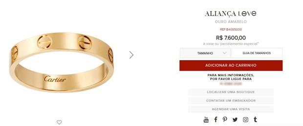 Aliança Cartier: R$ 7,6 mil (Foto: Reprodução / Cartier)