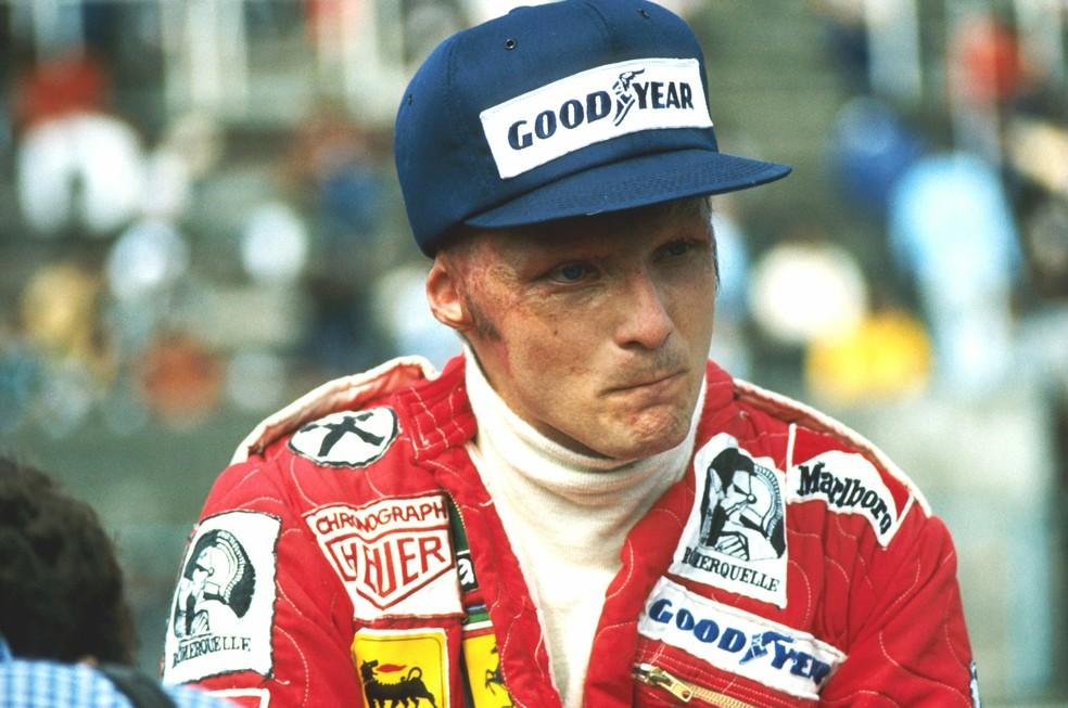Niki Lauda voltou a correr no GP da Itália, cerca de seis semanas depois de seu acidente — Foto: Reprodução / F1