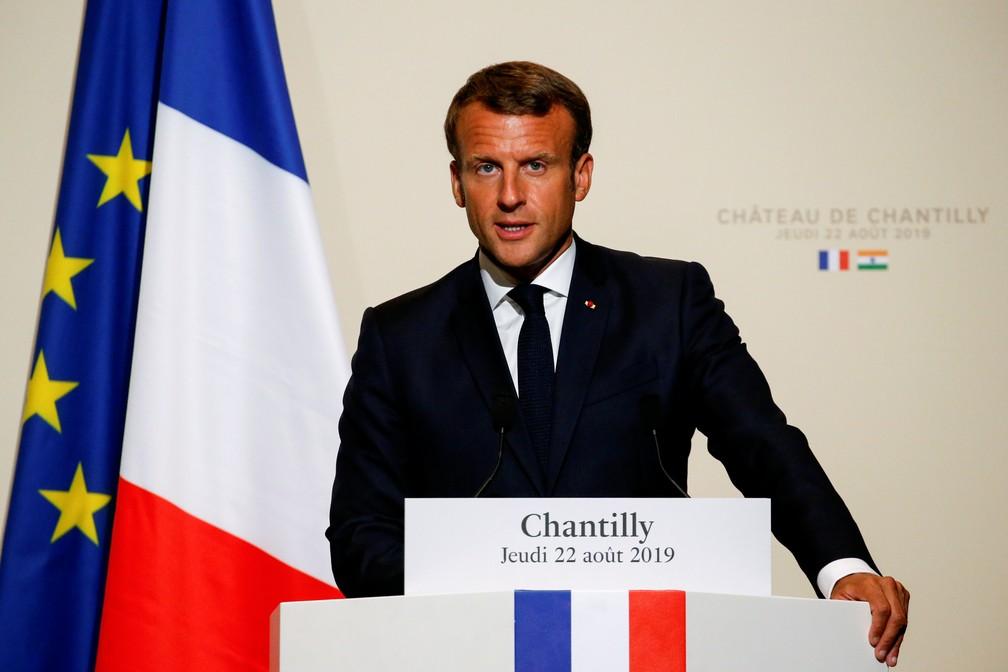 Emmanuel Macron, presidente da França, discursa durante encontro com o primeiro-ministro indiano, Narendra Modi, nesta quinta-feira (22) â?? Foto: Pascal Rossignol/Pool/Reuters