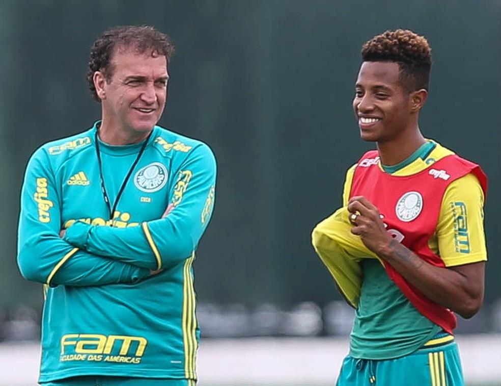 Cuca e Tchê Tchê na época de Palmeiras — Foto: César Greco / Ag. Palmeiras / Divulgação