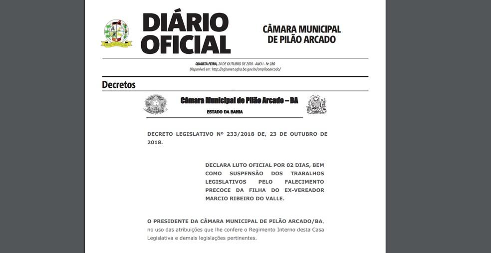 Câmara de Pilão Arcado decretou luto oficial de dois dias — Foto: Reprodução