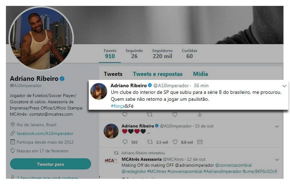 Possível postagem de Adriano que dá a entender negociação com o São Bento: GloboEsporte.com checou e trata-se de montagem (Foto: Reprodução/ Twitter)