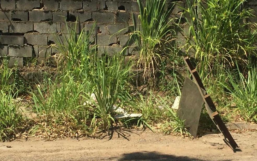 Local onde cabeça humana foi encontrada abandonada, em Aparecida de Goiânia, Goiás — Foto: Eduardo Silva/TV Anhanguera