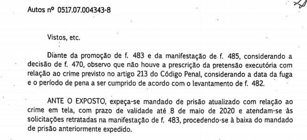 Novo mandado de prisão foi expedido em fevereiro — Foto: Reprodução/TV Globo