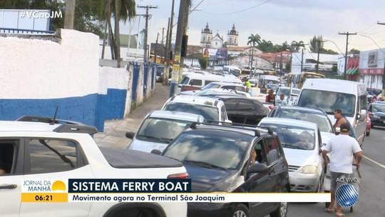 Motoristas enfrentam espera de até 3h para embarcar no ferry-boat em Salvador nesta sexta