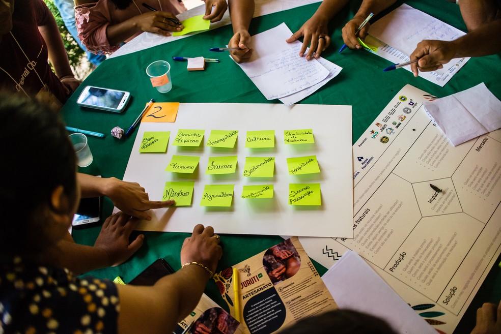 Ideias de negócios da floresta foram apresentadas durante o workshop do projeto Juruti Up — Foto: IJUS/Diulgação