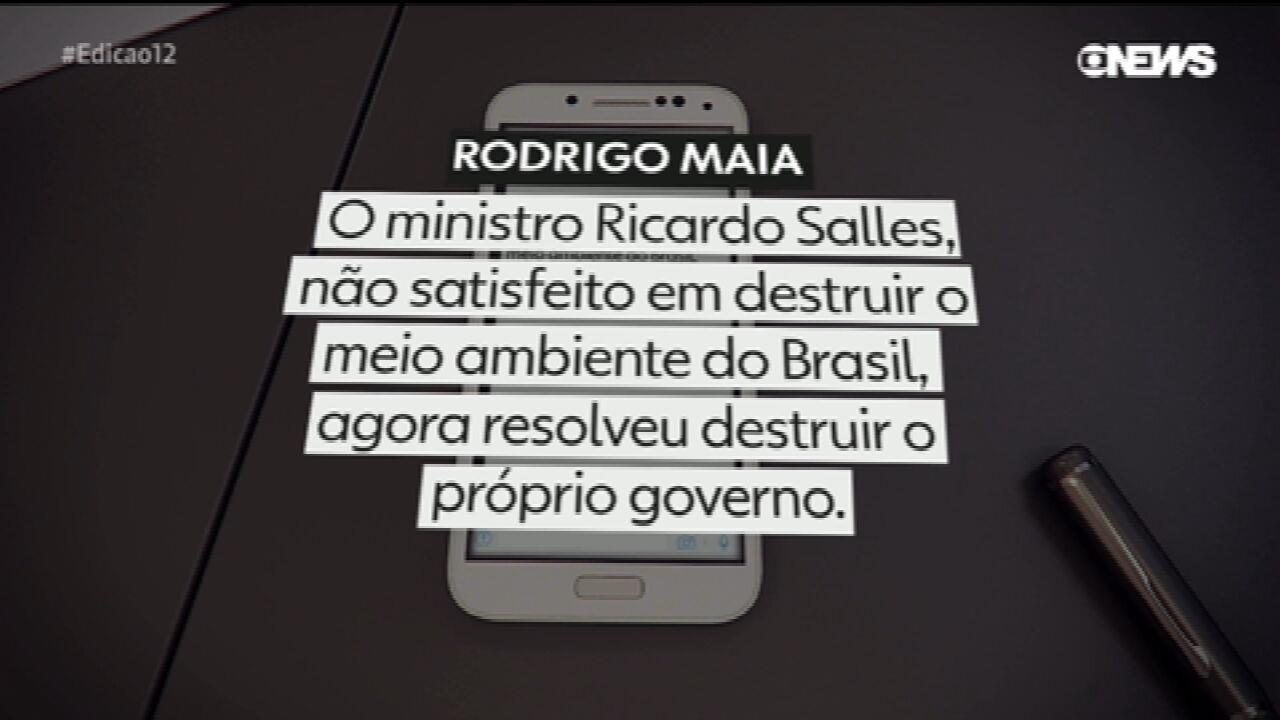 Rodrigo Maia faz críticas a Ricardo Salles em rede social: 'ministro destrói o próprio governo'