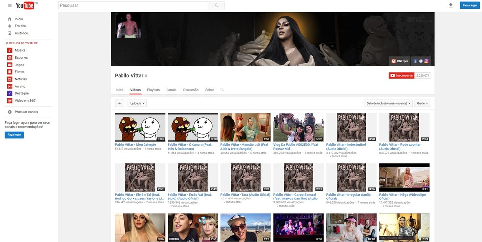 Pabllo Vittar tem página no Youtube invadida (Foto: Reprodução/Youtube)