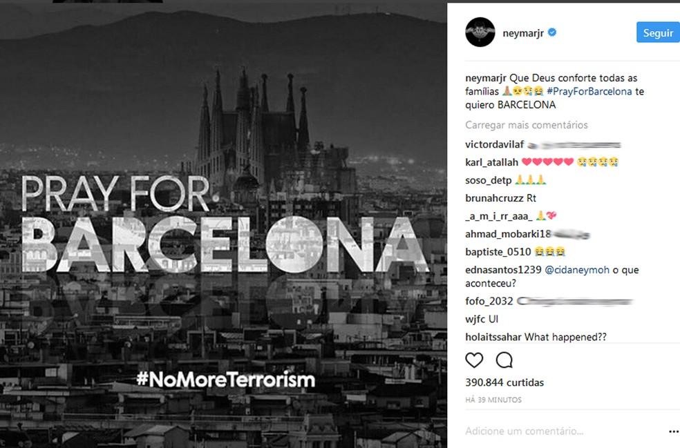 Neymar fez homenagem à cidade de Barcelona (Foto: Reprodução / Instagram)