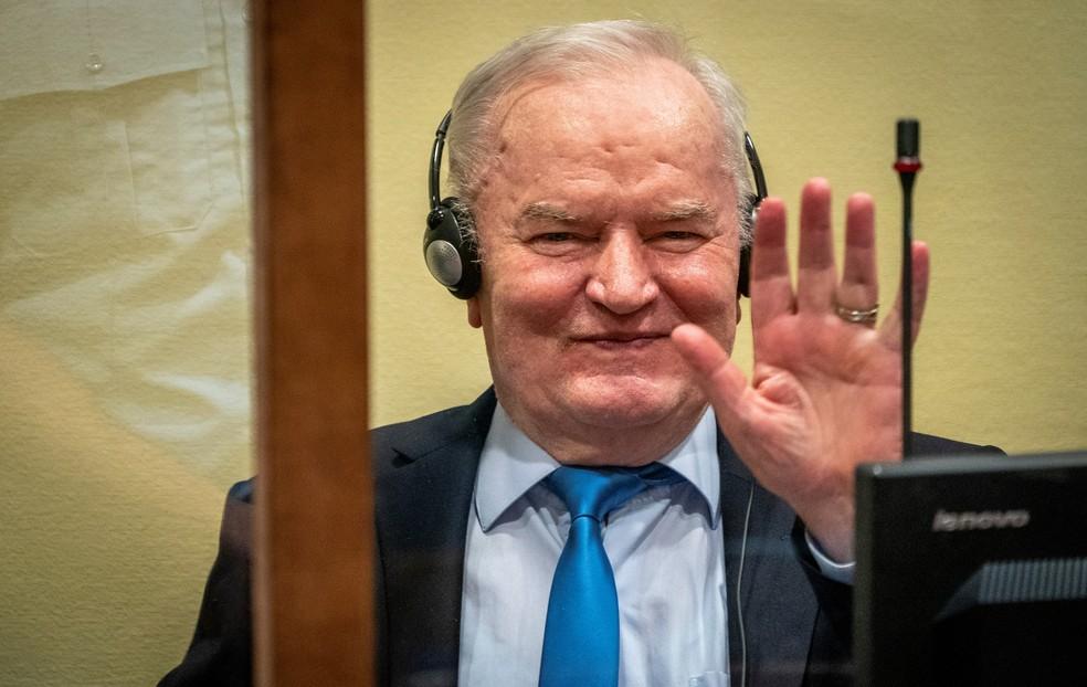 Ratko Mladic durante a audiência em que teve seu recurso rejeitado em Haia, na Holanda — Foto: Reuters/Jerry Lampen
