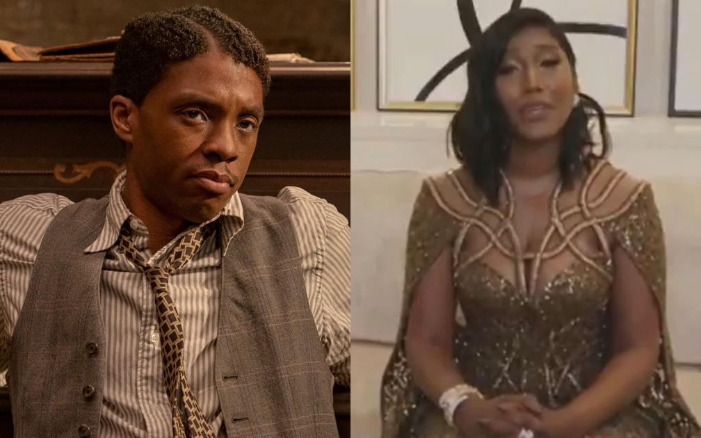 Simone Ledward, esposa de Chadwick Boseman, agradece Globo de Ouro póstumo do marido pela atuação em  'A Voz Suprema do Blues' — Foto: Divulgação; Reprodução