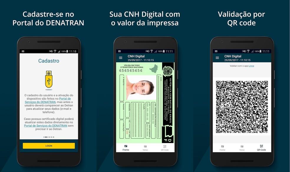 CNH Digital substitui o uso da versão impressa do documento (Foto: Divulgação/Portal de Serviços Denatran)
