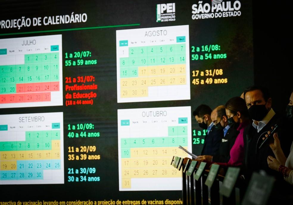 Coletiva de imprensa na qual o governador de São Paulo, João Doria anunciou nesta quarta-feira (2) que toda a população de SP estará vacinada até 31 de outubro. — Foto: ALOISIO MAURICIO/FOTOARENA/ESTADÃO CONTEÚDO
