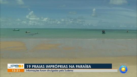 Litoral da Paraíba tem 19 praias impróprias para banho; maré alcança 0,1 m